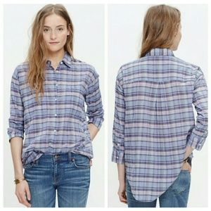 Madewell Plaid Shrunken Trapeze Shirt Size Small